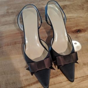 J. Crew slingback bow kitten heel brown satin 7.5